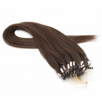 Rovné micro ring vlasy 40cm - tmavě hnědá
