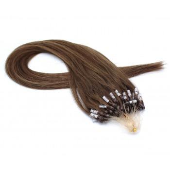 Rovné micro ring vlasy 40cm - středně hnědá