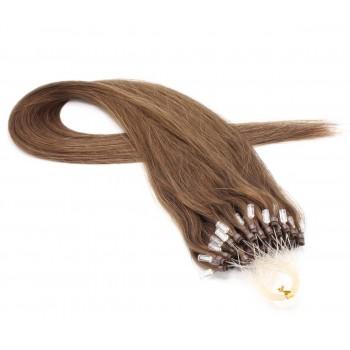 Rovné micro ring vlasy 40cm - světlejší hnědá