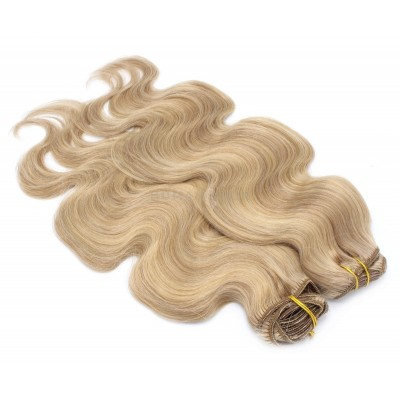 Deluxe vlnitý clip in set 50cm 200g - přírodní/světlejší blond