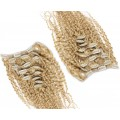 Deluxe kudrnatý clip in set 50cm 200g - přírodní blond