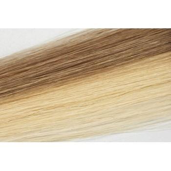 Clip in vlasy 50cm - Klasický melír 50% popelavá tmavá blond, 50% velmi světlá popelavá blond