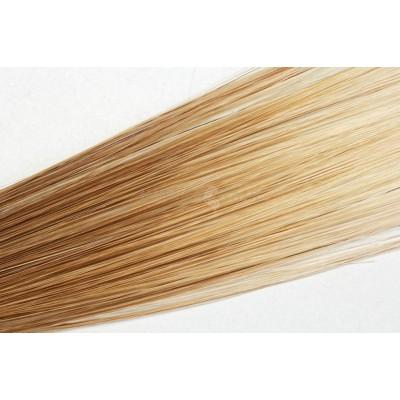 Clip in vlasy 50cm - Horní část pramene 1/3 čokoládová hnědá,2/3 konce popelavá světlá blond