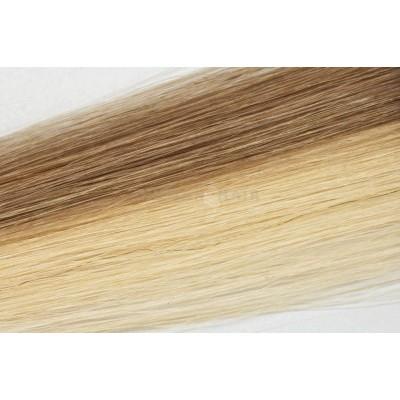 Clip in vlasy 30cm - Klasický melír 50% popelavá tmavá blond, 50% velmi světlá popelavá blond