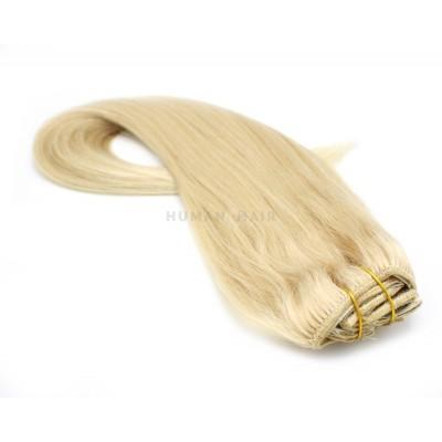 Rovný clip in set 40cm 100g - nejsvětlejší blond
