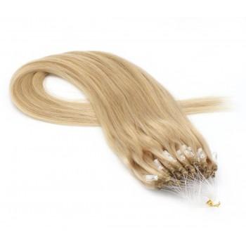 Rovné micro ring vlasy 40cm - přírodní blond