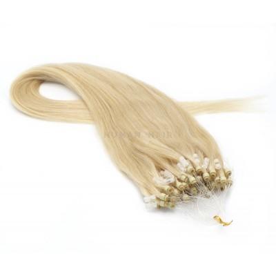 Rovné micro ring vlasy 40cm - nejsvětlejší blond