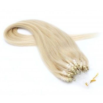 Rovné micro ring vlasy 40cm - platina