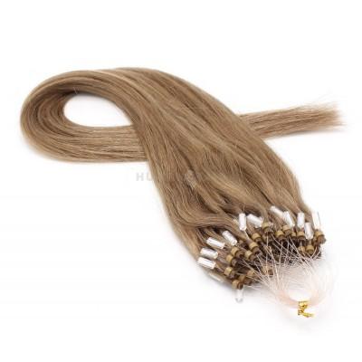 Rovné micro ring vlasy 50cm - světle hnědá