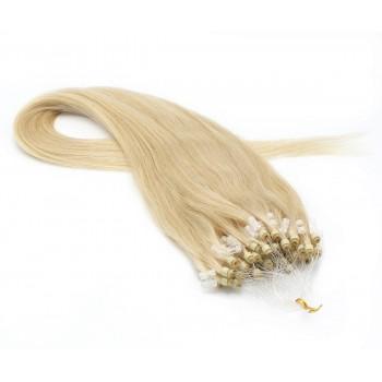 Rovné micro ring vlasy 50cm - nejsvětlejší blond