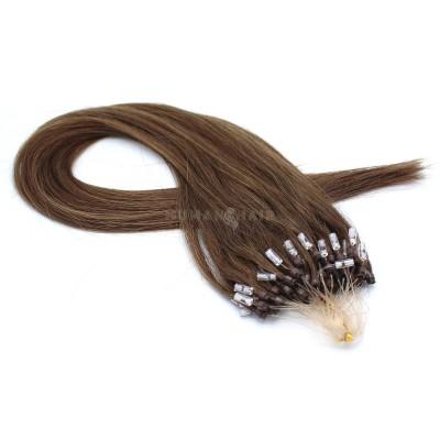 Rovné micro ring vlasy 60cm - středně hnědá