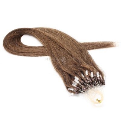 Rovné micro ring vlasy 60cm - světlejší hnědá
