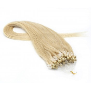 Rovné micro ring vlasy 60cm - nejsvětlejší blond
