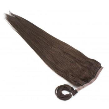 Clip in culík 100% lidské vlasy 50cm - tmavě hnědá