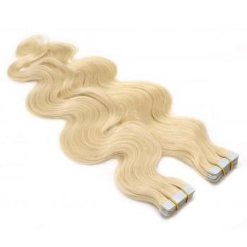 Vlnité tape in 60cm - nejsvětlejší blond