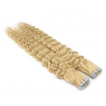 Kudrnaté tape in 60cm - nejsvětlejší blond