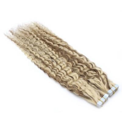 Kudrnaté tape in 60cm - platina/světle hnědá