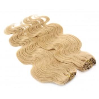Deluxe vlnitý clip in set 50cm 200g - přírodní blond