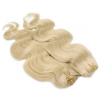 Deluxe vlnitý clip in set 50cm 200g - nejsvětlejší blond
