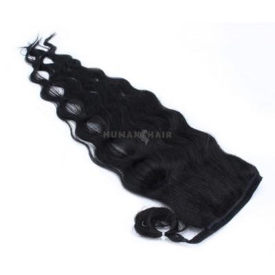 Vlnitý clip in culík 100% lidské vlasy 50cm - černá