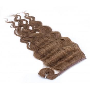 Vlnitý clip in culík 100% lidské vlasy 50cm - středně hnědá