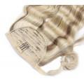 Vlnitý clip in culík 100% lidské vlasy 50cm - platina/světle hnědá