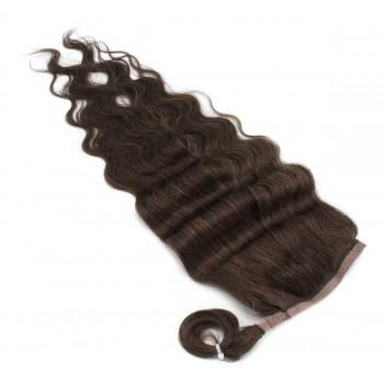 Vlnitý clip in culík 100% lidské vlasy 60cm - tmavě hnědá