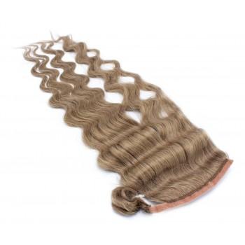 Vlnitý clip in culík 100% lidské vlasy 60cm - světle hnědá
