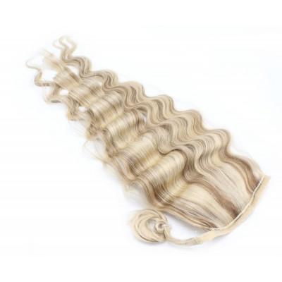 Vlnitý clip in culík 100% lidské vlasy 60cm - platina/světle hnědá