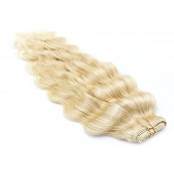 Vlnitý clip in pás 40cm - nejsvětlejší blond