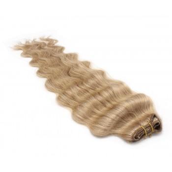 Vlnitý clip in pás 40cm - přírodní/světlejší blond