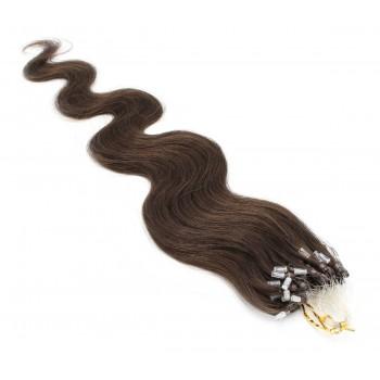 Vlnité micro ring vlasy 50cm - tmavě hnědá