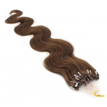 Vlnité micro ring vlasy 50cm - středně hnědá