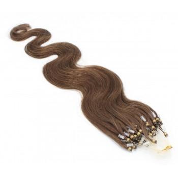 Vlnité micro ring vlasy 50cm - světlejší hnědá
