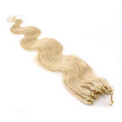 Vlnité micro ring vlasy 50cm - nejsvětlejší blond