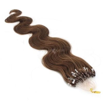 Vlnité micro ring vlasy 60cm - středně hnědá