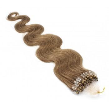Vlnité micro ring vlasy 60cm - světle hnědá