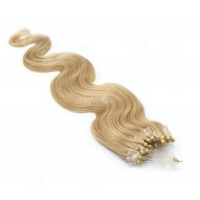 Vlnité micro ring vlasy 60cm - přírodní blond