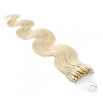 Vlnité micro ring vlasy 60cm - platina