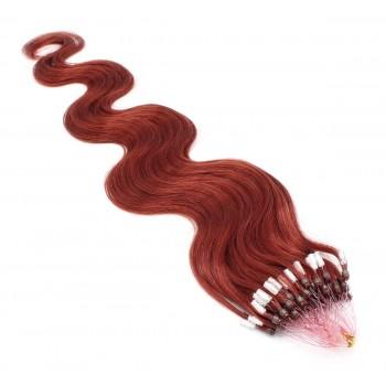 Vlnité micro ring vlasy 60cm - měděná
