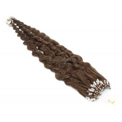 Kudrnaté micro ring vlasy 50cm - středně hnědá
