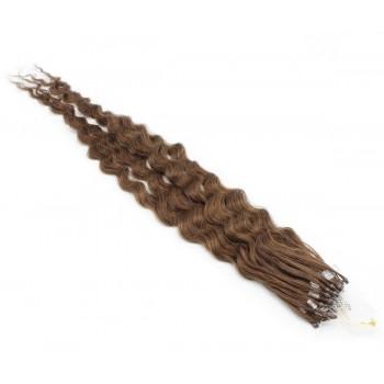 Kudrnaté micro ring vlasy 50cm - světlejší hnědá