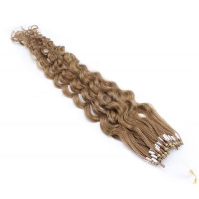 Kudrnaté micro ring vlasy 50cm - světle hnědá
