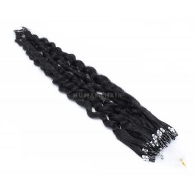 Kudrnaté micro ring vlasy 60cm - černá