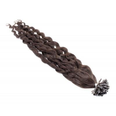 Kudrnaté keratin 60cm - tmavě hnědá