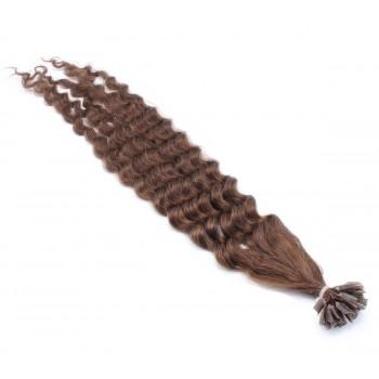 Kudrnaté keratin 60cm - středně hnědá