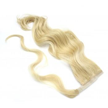 Vlnitý clip in culík 100% japonský kanekalon 60cm - nejsvětlejší blond