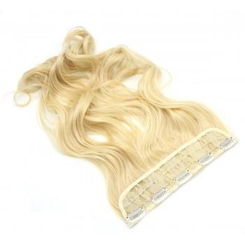 Vlnitý clip in pás japonský kanekalon 60cm - nejsvětlejší blond